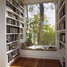 Love this reading area.  I am a fan of benches and natural light! #PrimroseReadingCorner