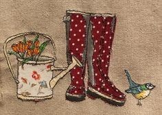 Original framed mixed media textile art  Spring Wellies by KatieEssam, £60.00