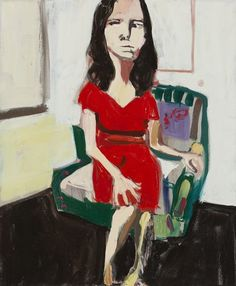 Chantal Joffe - Night Self-Portrait in Red Dress