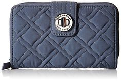 Vera Bradley Turn Lock Wallet, Charcoal, One Size -- Check out the image by visiting the link.