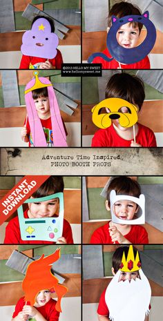 Adventure Time Photo Booth - INSTANT DOWNLOAD - Printable Party Props - Finn Jake Princess Bubblegum BMO Gunter. $10.00, via Etsy.