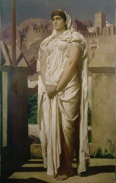 Frederic Leighton, 1830-1896.  Clytemnestra from the battlements of Argos watches for the beacon fires which are to announce the return of Agamemon, ca.1874, oil n canvas, 173,5x123,8 cm   Leighton House Museum (The Royal Borough of Kensington and Chelsea Cultura Service)    Inv. LH0372
