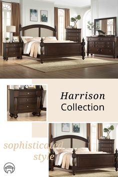 The Harrison Bedroom will brighten up your décor with luxury and comfort. Whether you are living in the city, the mountains, or on the lake, the pieces in this brilliant group will blend splendidly into your home  Group features an elegant inlay linen fabric, wood framed upholstered bed.  Supporting all bedroom pieces are wood turned column posts creating a look of true craftsmanship and artistry. #shopgahs #bedroom #masterbedroom #bed #dresser #chest #nightstand #mirror #bedroomfurniture