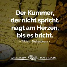 Der Kummer, der nicht spricht, nagt am Herzen, bis es bricht - William Shakespeare Zitat