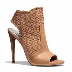"Coach Julie Heel. Woven Leather. Open Toe, Slingback. 4"". [April 2014]"