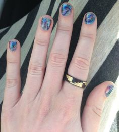 Blue feather Coachella Music Festival Nails by Caitlin.