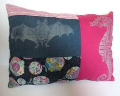 Seahorse and Bat Block Printed Pillow by minouette