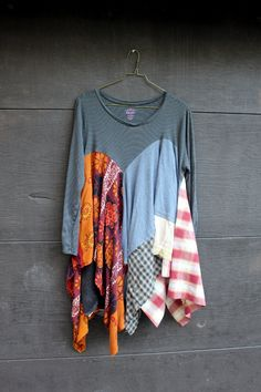 REVIVAL Women's Upcycled Boho Knit Shirt Shabby Chic by REVIVAL