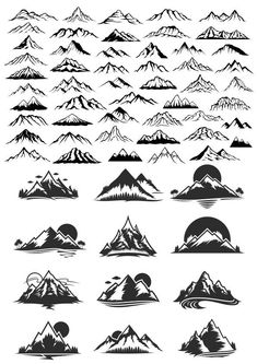 The vector file Mountain Vector Art Set CDR File is a Coreldraw cdr ( .cdr ) file type, size is KB, under silhouette, stencils vectors. Skull Tatto, Neck Tatto, Berg Illustration, Mountain Illustration, Mountain Logos, Mountain Art, Montain Tattoo, Geometric Tatto, Landscape Drawings