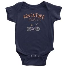Best seller at Hudson Baby Company - Adventure Awaits Baby Onesie is a modern personalized gift. Baby Onesie, Onesies, Boppy Cover, Rustic Nursery, Kids Bike, Boho Baby, Adventure Awaits, Baby Care, My Children