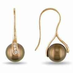 10k Pink Gold 1/10 CT TDW Diamonds Tahitian Chocolate Pearl Charm earrings (G-H, I2-I3) Amour. $273.99