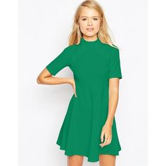 1e8b8bc75c78 ASOS Skater Dress with Empire Seam and Button Detail (£15) ❤ liked on