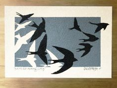 Original acrylic swallow painting on silk paper
