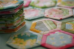 adorable Hickory Nut hexagon blocks with a link to a nice tutorial