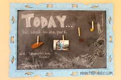 Use a chalkboard to help your children talk about their day at dinner. Great for building storytelling, vocabulary building, pre-reading skills.