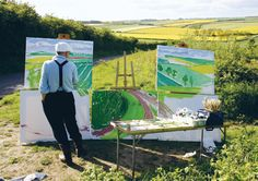 "David Hockney. Reconfiguring the natural world: David Hockney painting ""The Road to Thwing, Late Spring"", May 2006 (David Hockney/photo Jean Pierre Goncalves de Lima)"