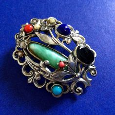 BAROQUE Vintage Women Pin Brooch Silver Tone Stones Fashion Jewelry Accessories #Unbranded