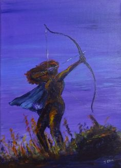 "Heartseeker - 9"" x 12"" original acrylic painting - female figure archer silhouette"