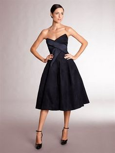 SCULPTED BUSTIER DRESS WITH SATIN DETAILED BODICE  Donna Karan