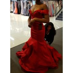 Red Mac Duggal Mermaid Prom Dress The dress has only been worn for a few hours then put back up right after prom was over. Its slim fit so it'll accentuate all of your curves. Mac Duggal Dresses Prom