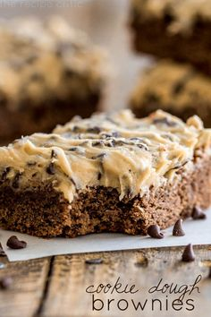 Cookie Dough Brownies Recipe ~ The cookie dough frosting on top is AMAZING