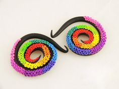 Rainbow Octopus Tentacle Spiral Gauges  6G to 0G by HipsterOctopus, $35.00