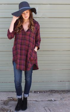 Teton Tunic in Sangria Plaid by CP Shades USA, cp shades tunic, cp shades clothing, free people.  boho, bohemian. Pull on tunic top with open front placket, pointed collar & long sleeves.  Back yoke with slight gathering. Button cuffs & curved shirttail hemline.  Front patch pockets.Double Cotton