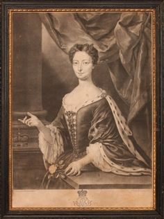 Mezzotint, c. 1720, of Queen Clementina Sobieska, wife of King James VIII and III (after a portrait by Trevisani)