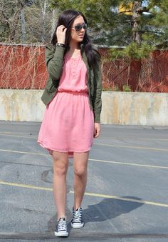 Casual Spring Outfit, girly dress with military jacket and converse