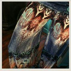 ? Super Cute Unique Print Wide Leg Palazzo's? ? Super Cute Unique Blue Print Wide Leg Fold over Palazzo's ? Pants Wide Leg