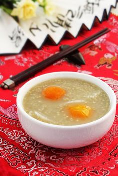 Black Millet Congee with Kumquat and Chinese Yam | The black millet is both food and medicine. Chinese medicine believes that black millet has features of sweet, slightly cold, can promote appetite, complement deficiency, spleen and stomach, nourish the kidney and stable sleeping.