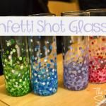 Confetti Shot Glasses - Martha Stewart paints,  Bamboo skewers (with one flat end)