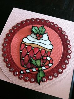 Christmas Cupcake Peel Off from Elizabeth Craft Designs colored with the Copic markers on top of the Warm Diamond Silk Microfine glitter glitter