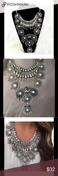 """Crystal Bib Statement Necklace Crystal Bib Statement Necklace is luxe boho at its best!  This showstopper is approximately 20"""" long (+ 3"""" extender), and is silver alloy with crystal & pearl accents.  Perfect with your LBD for a fancy night out, or with jeans shorts to dress up your music festival ensemble this gorgeous piece can be worn anywhere!  NWOT Jewelry Necklaces"""