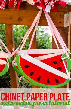 Chinet DIY Paper Plate Watermelon Purse Tutorial