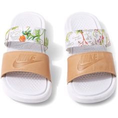 Nike x Liberty White Liberty Print Benassi Duo Ultra Pool Slides ($71) ❤ liked on Polyvore featuring shoes, nike, grip shoes, floral print shoes, white shoes and beach shoes