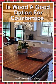 Finishes for Wood Countertops. The type of finish you choose will depend on how you plan to use your kitchen countertop, island top, or butcherblock top. #woodcountertops #woodencountertops Wooden Countertops, Kitchen Countertops, Fine Woodworking, Woodworking Projects, Wood Chopping Board, Salvaged Wood, Surface Area, Island, Type