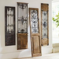 Vintage Gate Artwork: Our Vintage Gates artwork is crafted from generously distressed wood and metal. The rustic wooden frames and inset finials resemble found artifacts that are sure to complement most any decor. Door Design, House Design, Design Design, Gate Design, Interior Design, Wrought Iron Decor, Rod Iron Decor, Wrought Iron Gates, Tuscan Design