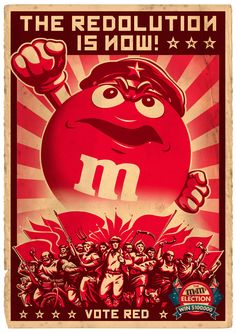 M&Ms Election Posters - Typography, Illustration, constructivist, graphic design, advertising, organic paper texture.