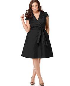 Spense Plus Size Dress, Short Sleeve Wrap Shirtdress - Plus Size Dresses - Plus Sizes - Macy's