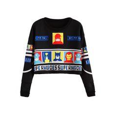 SheIn(sheinside) Black Cartoon Print Crop Sweatshirt ($10) ❤ liked on Polyvore featuring tops, hoodies, sweatshirts, black, cut-out crop tops, cropped pullover, stretch crop top, print crop tops and comic book