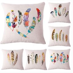 Colorful Feather Cotton Linen Decorative Pillow Cover Cushion Cover Chair Waist Seat Square Cushion Cover Home Textile #>=#>=#>=#>=#> Click on the pin to check out discount price, color, size, shipping, etc. Save and like it!