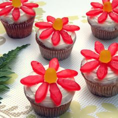 Topped with vibrant red candy blossoms, these cupcakes make a great pick for a fairy party. You'll need: Batch of baked cupcakes White buttercream frosting Swedish Fish candies Yellow Dots candies Flowers Cupcakes, Garden Cupcakes, Fairy Cupcakes, Spring Cupcakes, Cupcakes For Girls, Luau Cupcakes, Floral Cupcakes, Mocha Cupcakes, Gourmet Cupcakes