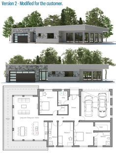Customer House Plan / Modified Home Ownership Plan - Architecture Small Modern House Plans, Modern House Design, Contemporary Garden, Contemporary Interior, Contemporary Home Plans, Contemporary Building, Kitchen Contemporary, Contemporary Apartment, Contemporary Wallpaper