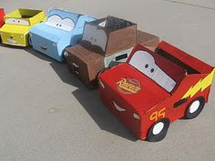 I just finished Mater, McQueen, and Sally! I didn't follow any kind of tutorial...I just looked at this picture and did it! it was fun, and my son even helped paint!