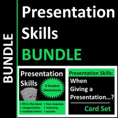 Presentation skills bundle includes real-life examples, situations, and dos and donts for business communication, speech, or CTE students. SAVE 25% compared to purchasing the 2 products separately. Includes 9 print-and-go pdf worksheets (situational multiple choice questions, fill-in-the blank activities, free response questions, categorization activities, puzzles, etc.) and 40 thought-provoking cards to be used as a group activity, warm-up questions, exit tickets, or writing prompts.