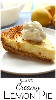 Sweet, creamy & tart lemon pie - the filling needs only 3 ingredients | Soo easy to make | Rich & delicious | www.craftycookingmama.com