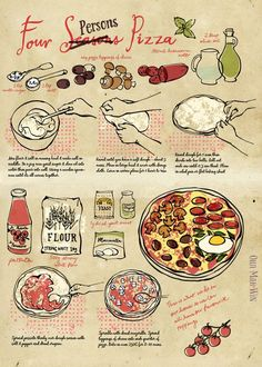 Home made pizza step by step illustrated recipe on They Draw and Cook Ohn Mar Win food recipe lunch ideas Ohn Mar Win Illustration Recipe Drawing, Food Sketch, Healthy Snacks For Adults, Sketch Notes, Recipe Steps, Food Journal, Food Drawing, Some Recipe, Doodle Drawings