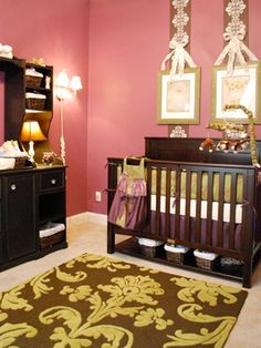 Baby Girl Nursery Ideas Really like the color scheme on this one, minus that area rug though lol