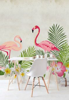 Papier peint amovible Flamant tropical Mural